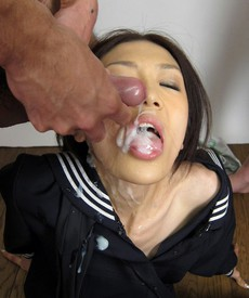 Pretty asian college girl sucked two..