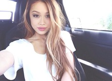Beautiful asian girls take selfies in..