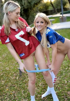 Petite young girls playing outdoor..