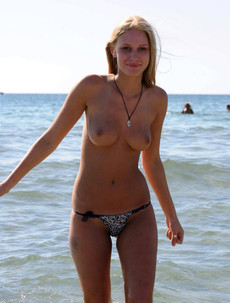 Topless girls in the sea, nude beauties