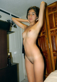 Little young slim girls nude at home